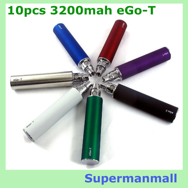 10pcs ego t battery 3200mah big capacity ego t Variable Voltage 3.2V-4.2V 3200mah E Cigarette Battery eGo  evod vaporizer