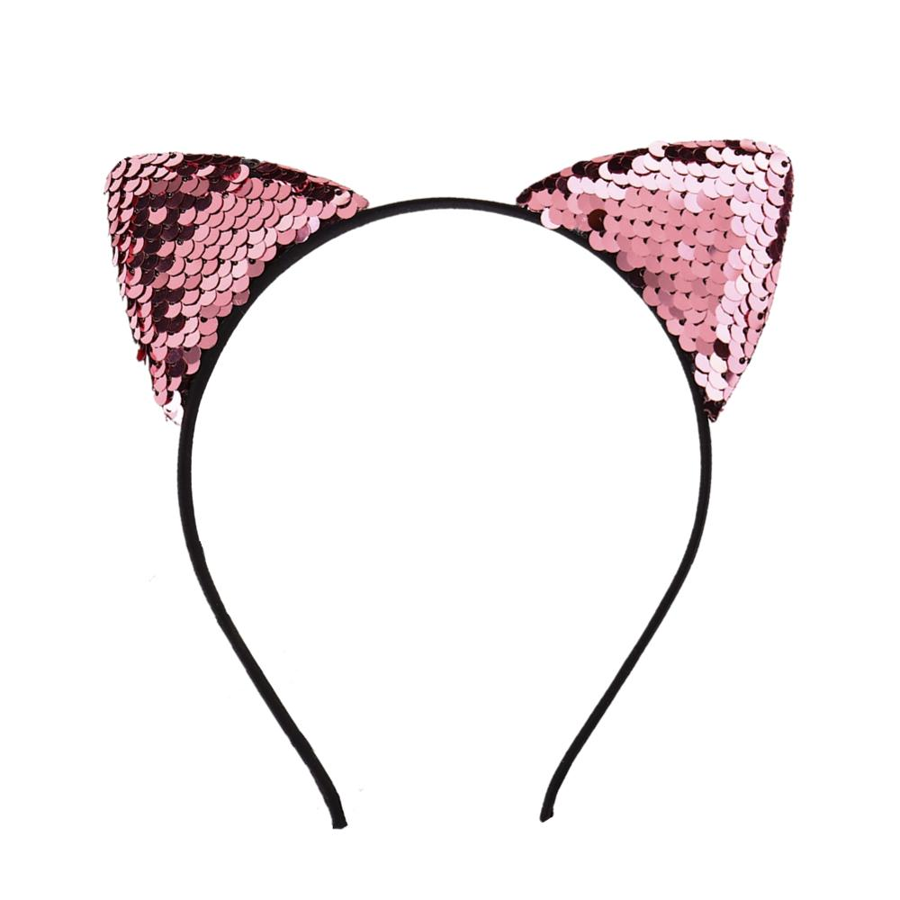 Black Silver Sequin Cat Ears Headband Cat Girl Cat Woman Costume Accessories