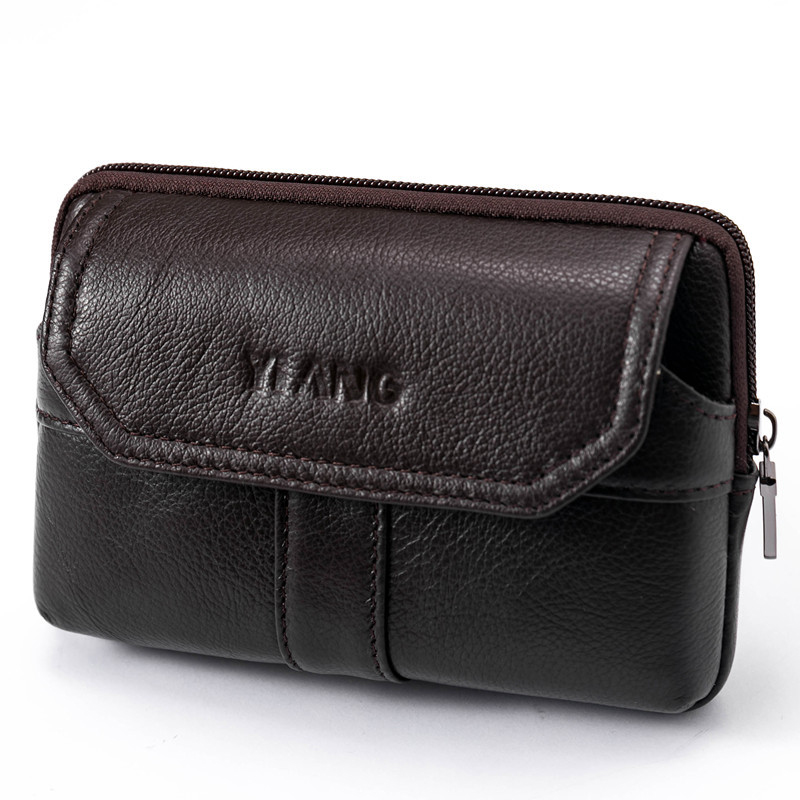 New Men's Real Cowhide Flip Belt Hip Fanny Bag Purse Genuine Leather Cell Mobile/Phone Case Pocket Male Vintage Bum Waist Pack
