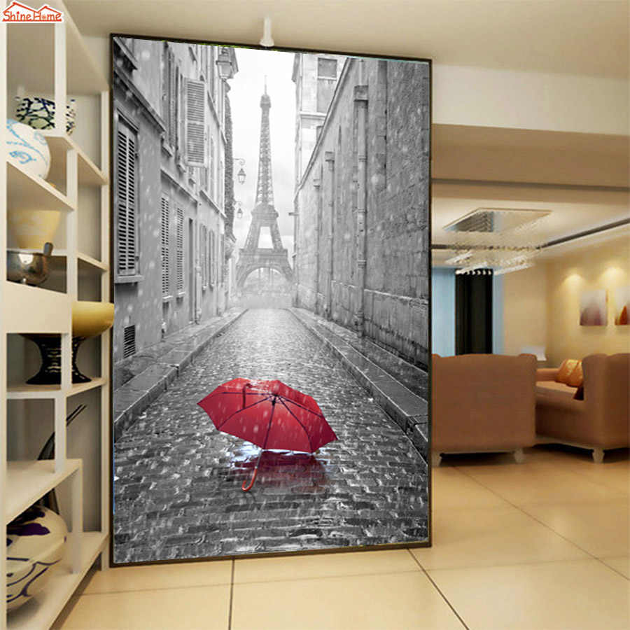 3d Embossed Murals Wallaper Wallpapers for Living Room Wall Papers Home Decor Mural Roll Paris Eiffel Tower City Papel De Parede