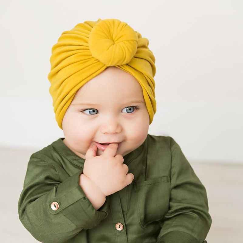 Turbante de bebé nudo superior sombrero infantes niños niño niña India Beanie sombrero encantador suave sombrero recién nacido accesorios de fotografía