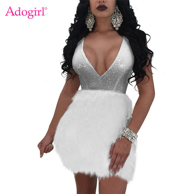 Adogirl 2018 New Faux Fur Patchwork Sequins Bodycon Dress Sexy Deep V Neck  Sleeveless Open Back Bandage Mini Club Party Dresses 747431fdf