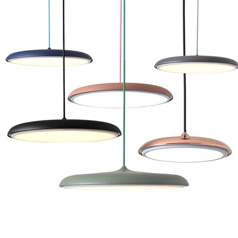 Nordic Colorful Metal Led Pendant Lamp Danish Design Makarion Style Acrylic Ceiling Mounted Hanglamp For Bar Shop Restautant danish design iv15q702slbk