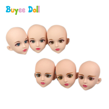 1 pcs 3D Real Eyes Plastic Make Up Doll Head 1/4 BJD DIY Doll Body Accessories Without Make Up Toy Cosplay Doll For Girls Toys plastic doll series 3 newest dress up doll with clothes accessories bottle without ball