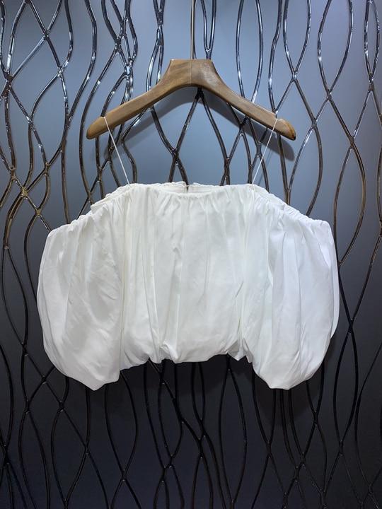 2019 nuevo verano de las nuevas mujeres desgaste puro hombro cinturón Baidan chaqueta 513-in Camisetas from Ropa de mujer    1