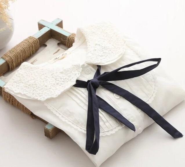 Mori girl peter pan collar blue ribbons tie white shirt blouse bow blouses female