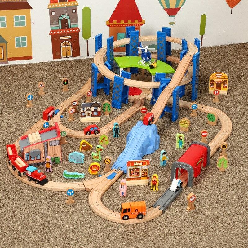 Rail de chemin de fer en bois accessoires anneau de Garage pour télécommande électrique petit Train circulaire courbe orbite jouets pour enfants