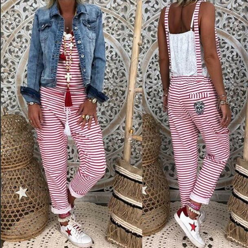 Women Striped Jumpsuit Overalls Sleeveless Summer Jumpsuit Loose Casual Baggy Bib Pants Rompers(China)