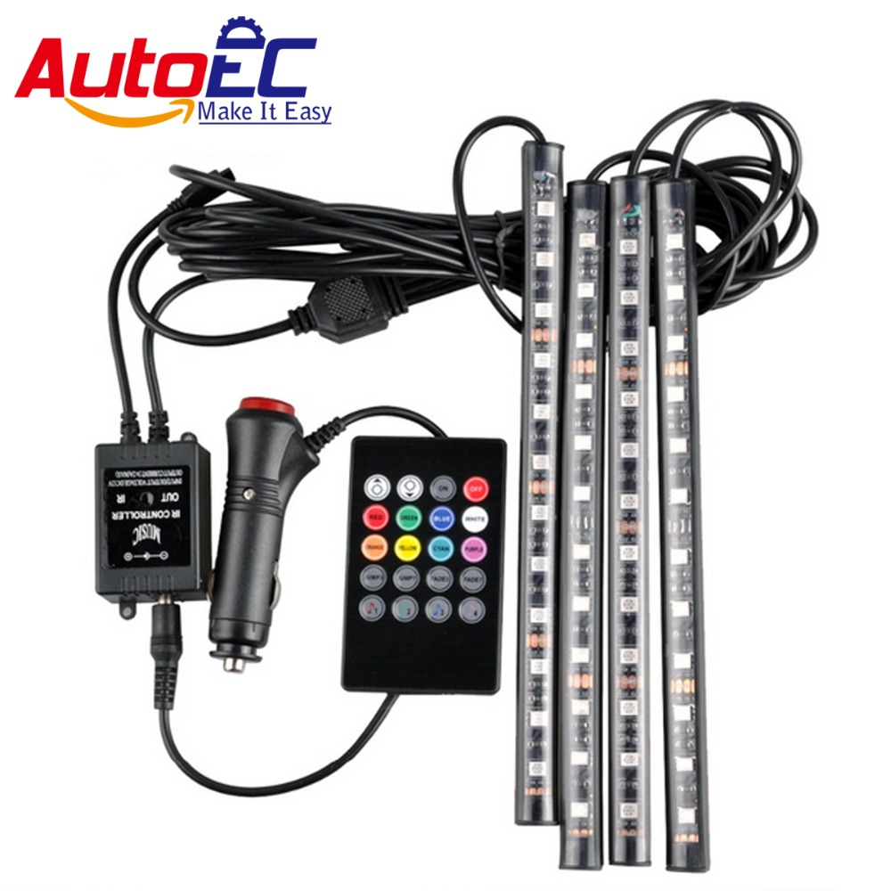 autoec car interior led strip atmosphere light 12smd 5050 rgb wireless music control flexible. Black Bedroom Furniture Sets. Home Design Ideas