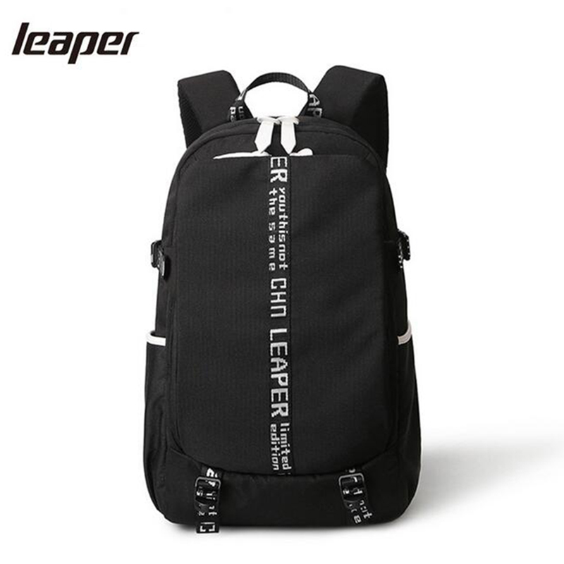 Leaper Men Backpack Waterproof USB Charge School Bags For Teenagers 15 Inch Student Computer Travel Designer Backpack Bag Men nordshield usb solar charge backpack for teenager school bag 15 6 inch fashion waterproof men travel backpack mochila escolar