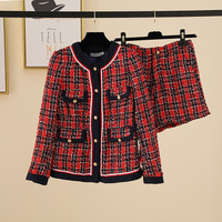Luxury Brand Summer 2 Piece Set Vintage Plaid Striped O Neck Button Tweed Long Sleeve Coat and Tweed Shorts Runway Red Set