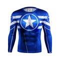 Moda 2016 Para Hombre de Impresión de Manga Larga Del O-cuello Camisetas de Una Pieza T-shirt Lycra Superhéroe Captain America Superman 3d camisetas
