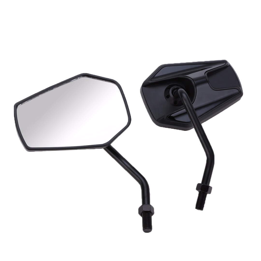 Side Mirrors & Accessories 2pcs Universal Motorcycle Motorbike Rear View Mirror 10mm Black Mayitr