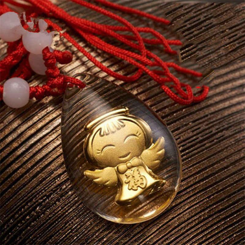Горячая продажа изысканные 24 К желтого золота и кристалл кулон женский счастливый фу улыбка подарочные мешочки 30*20 мм