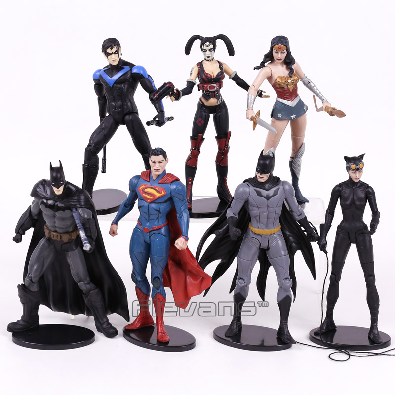 DC COMICS Injustice League Superman Batman Nightwing Wonder Woman Harley Quinn Catwoman PVC Action Figure Collectible Model Toy free shipping 6 comics dc superhero shfiguarts batman injustice ver boxed 16cm pvc action figure collection model doll toy