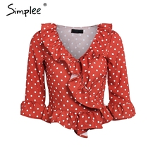 Simplee Sexy red dot ruffle blouse women Vintage long sleeve blouse shirt Streetwear V-neck cotton summer blouse femme 2018