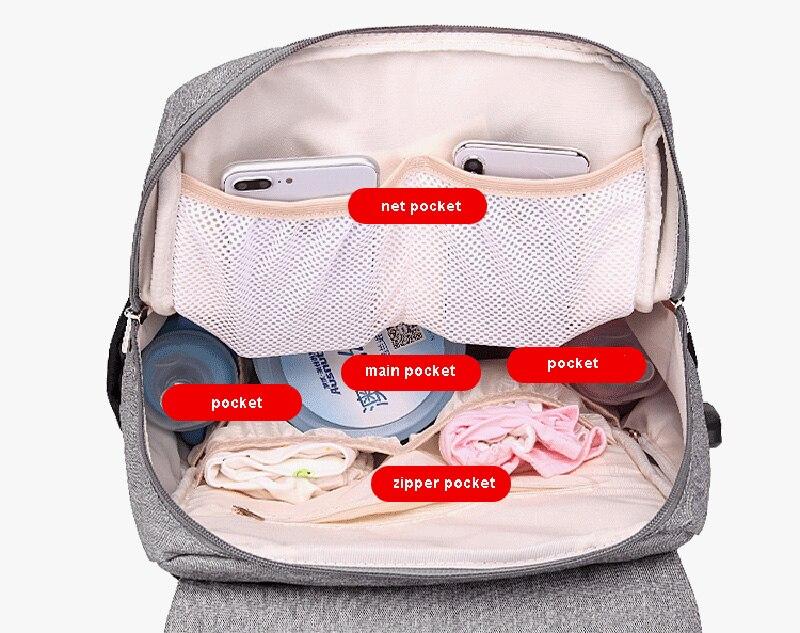 HTB1XBwKaPzuK1Rjy0Fpq6yEpFXaP Diaper Bag Mummy Daddy Backpack Baby Stroller Bag Waterproof Oxford Handbag Nursing Nappy Kits Maternity Bag USB Warmer Holder