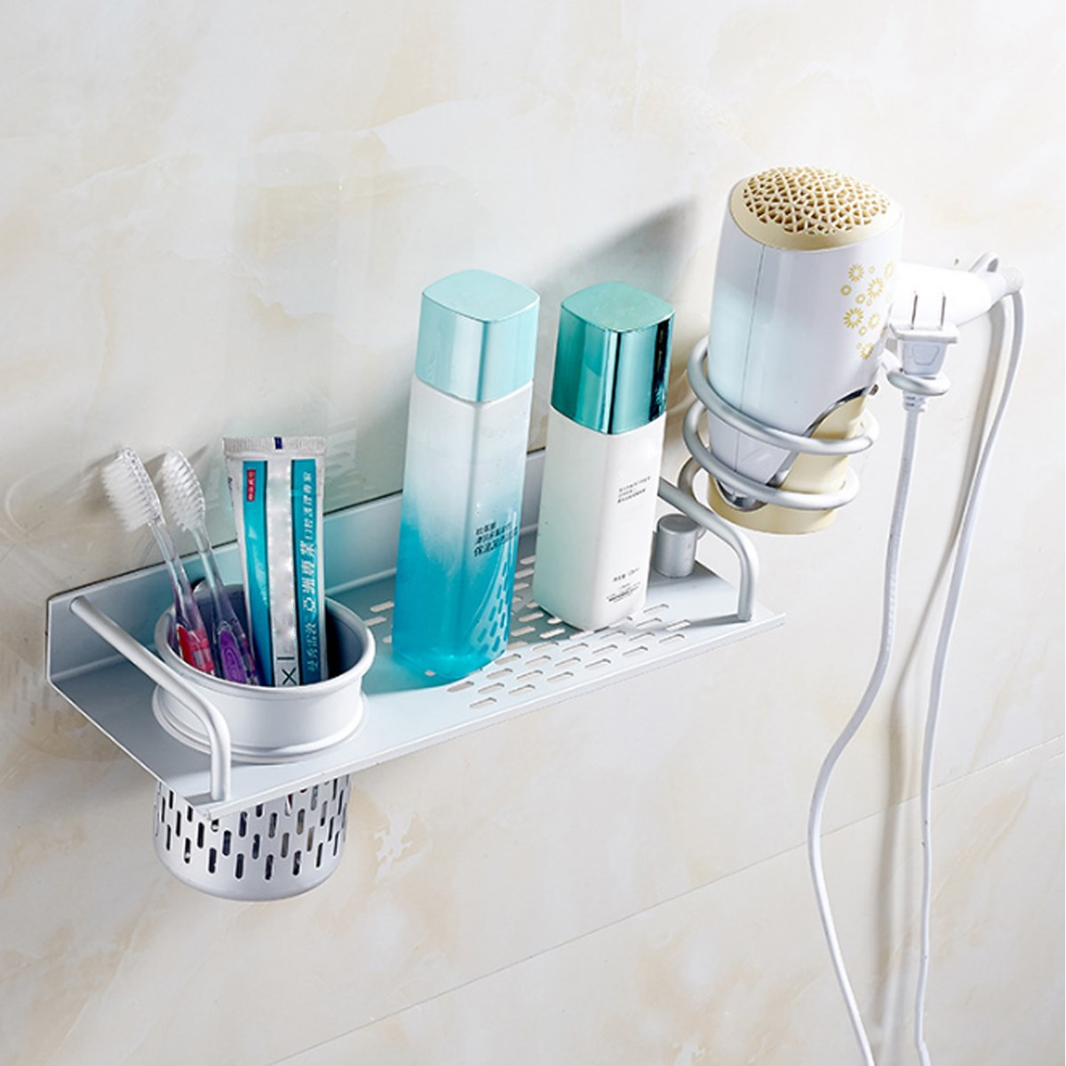 Plastic removable bath shelf wall mounted cosmetic holder storage - Aluminum Alloy Portable Spiral Blow Hair Dryer Stand With Cup Cosmetics Holder Wall Mounted Holder Bathroom