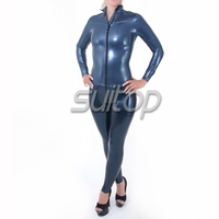 ac36c42b58d87b Metallic Blue Latex Rubber Catsuit With Glove Socks For Women Latex Fetish  Full Bodysuit
