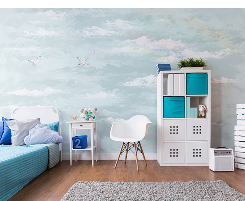 Bacaz Painting Blue Sky 3d Clouds Stickers Wall Paper Murals For Baby Children Room Sofa Background 3d Cloud Wallpaper