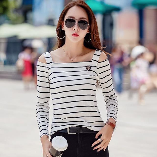 0c97c1384b ropa casual poleras camiseta mujer manga Hombro larga otoño tops mujer  camiseta mujer mujer rayas de qYYtv7z