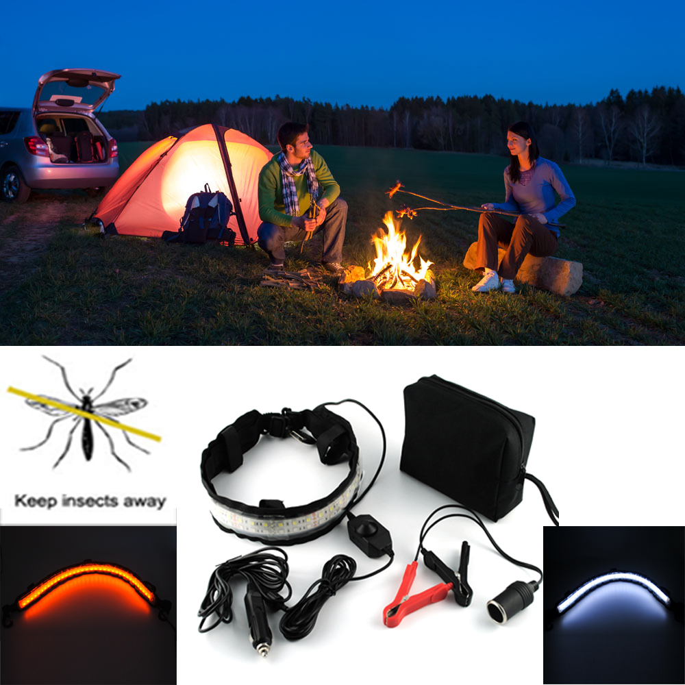 12V LED Strip 5050 Keep Mosquito Away Camping Lamp Waterproof Outdoor Lighting for Hiking in Night Dimmable Lantern Tent