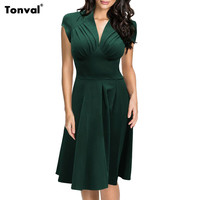 Tonval Women Ruched Vintage Office Swing Dress Summer Sexy Deep V Neck Cap Sleeve 1950S Rockabilly