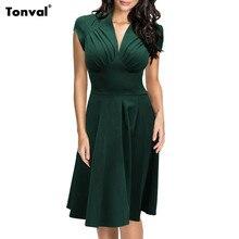 Tonval Women Ruched Vintage Office Swing font b Dress b font Sexy Deep V Neck Summer