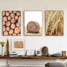 Современный дом стены искусства животных постеры и золотой пшеницы