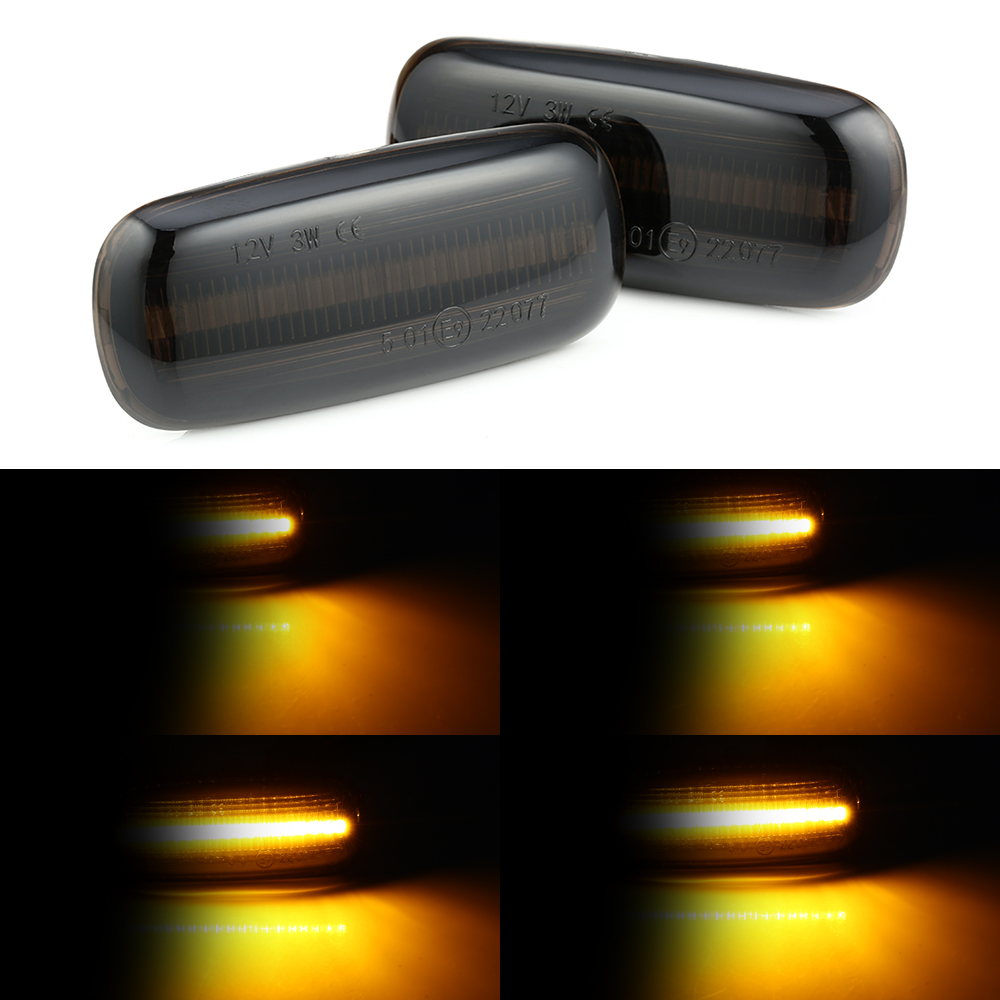 2 pcs Flowing Car Side Marker Light for Audi A2 A3 A4 A6 A8 TT Blinker Amber Smoke LED Dynamic Turn Signal Lamp image