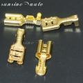 50 шт. 4 8 мм/6 3 мм золотой Латунный автомобильный динамик электрические провода Разъемы Набор Женский обжимной клеммный разъем