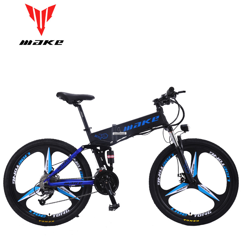 MAKE Mountain Electric Bike Full Suspension Alluminium Folding Frame 27 Speed Shimano Disc Brake 26 Wheel