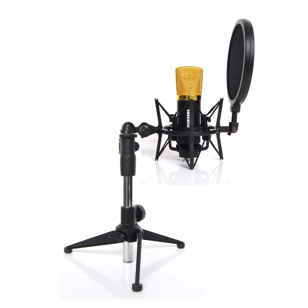 FREEBOSS ES-6-SK Professional Wired Condenser (recording / chorus) microphone with Microphone Stand professional recording sound wired condenser lecture microphone with black mic stand laptop microphone xlr cable recording