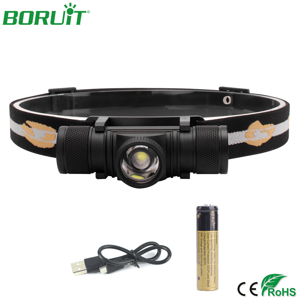 BORUiT Zoomable LED Headlamp Flashlight USB Rechargeable Headlight Portable Waterproof Camping Hunting Head Torch Light 18650