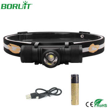 BORUiT Zoomable LED Headlamp Flashlight USB Rechargeable Headlight Portable Waterproof Camping Hunting Head Torch Light 18650 - DISCOUNT ITEM  29% OFF All Category