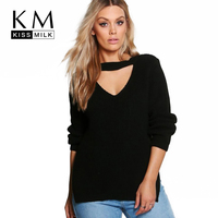 Kissmilk 2017 Big Size Women Clothing Casual Sexy Solid Hollow Out Split Slim Sweater Warm Plus