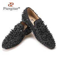 New Handmade Long Gold Rivet Men Red Bottom Loafers Gentleman Luxury Fashion Stress Shoes Men Wedding