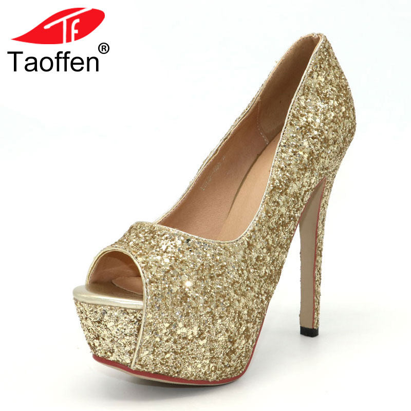 TAOFFEN women peep open toe high heel shoes platform party sexy lady footwear fashion heeled pumps heels shoes size 32-43 P18133 size 35 43 women high heel shoes wedding bridal flower platform heeled lady pumps fashion diamond heels shoes eur d5614