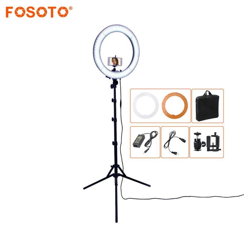 FOSOTO RL-18 55 Вт 5500 К 240 светодиодный Фотографическая освещение затемнения Камера фото/Studio/телефон фотографии кольцо света лампы и штатив Стенд