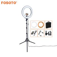 FOSOTO RL 18 55W 5500K 240 LED Photographic Lighting Dimmable Camera Photo/Studio/Phone Photography Ring Light Lamp&Tripod Stand