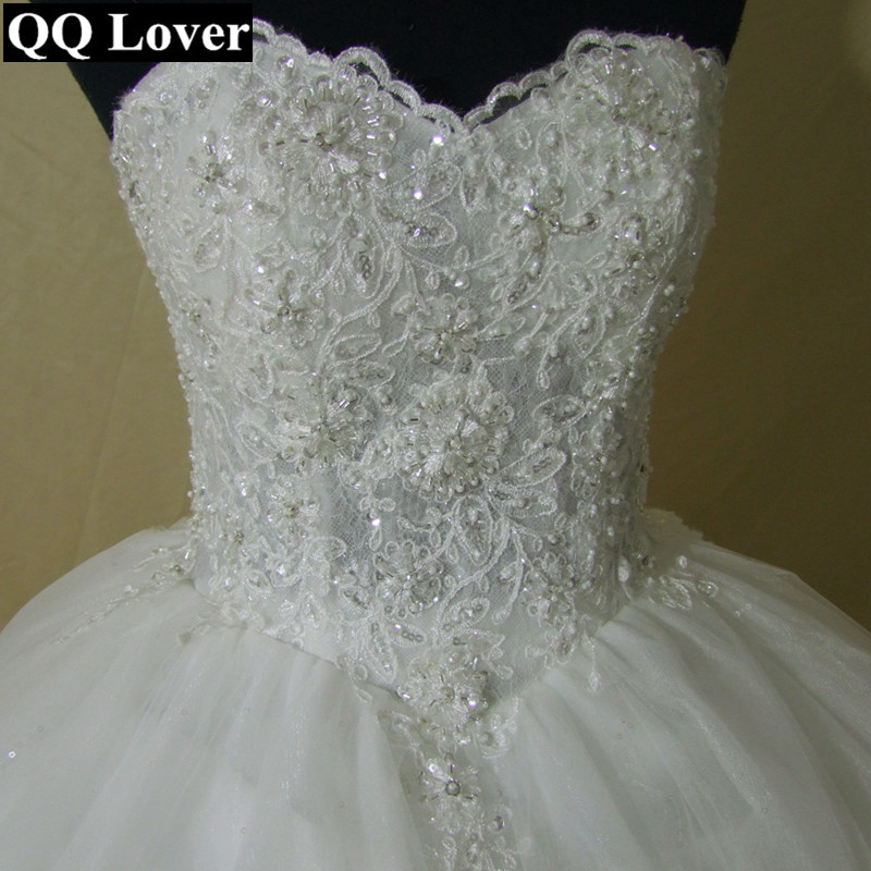 Image 4 - QQ Lover 2019 New Pearls Beaded Ball Gown Wedding Dress Luxury Bridal Gown Vestido De Noiva-in Wedding Dresses from Weddings & Events