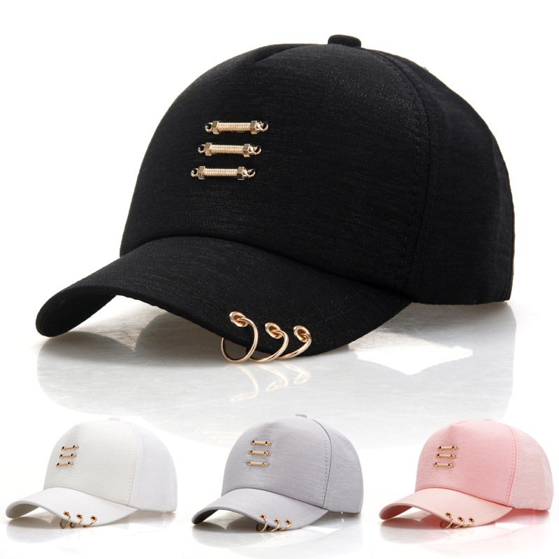 Fashion Korea Hip Hop Caps With Rings Women Men Casual Solid Color Snapback Cap Hat Summer Baseball Cap aetrue winter beanie men knit hat skullies beanies winter hats for men women caps warm baggy gorras bonnet fashion cap hat 2017