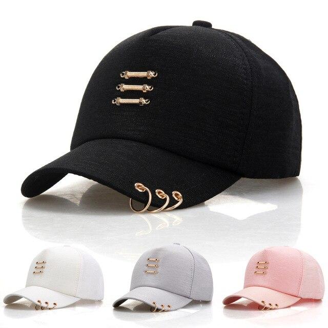 Fashion Korea Hip Hop Topi dengan Cincin Pria Wanita Kasual Padat Warna  Snapback Topi Musim Panas 176412bd62