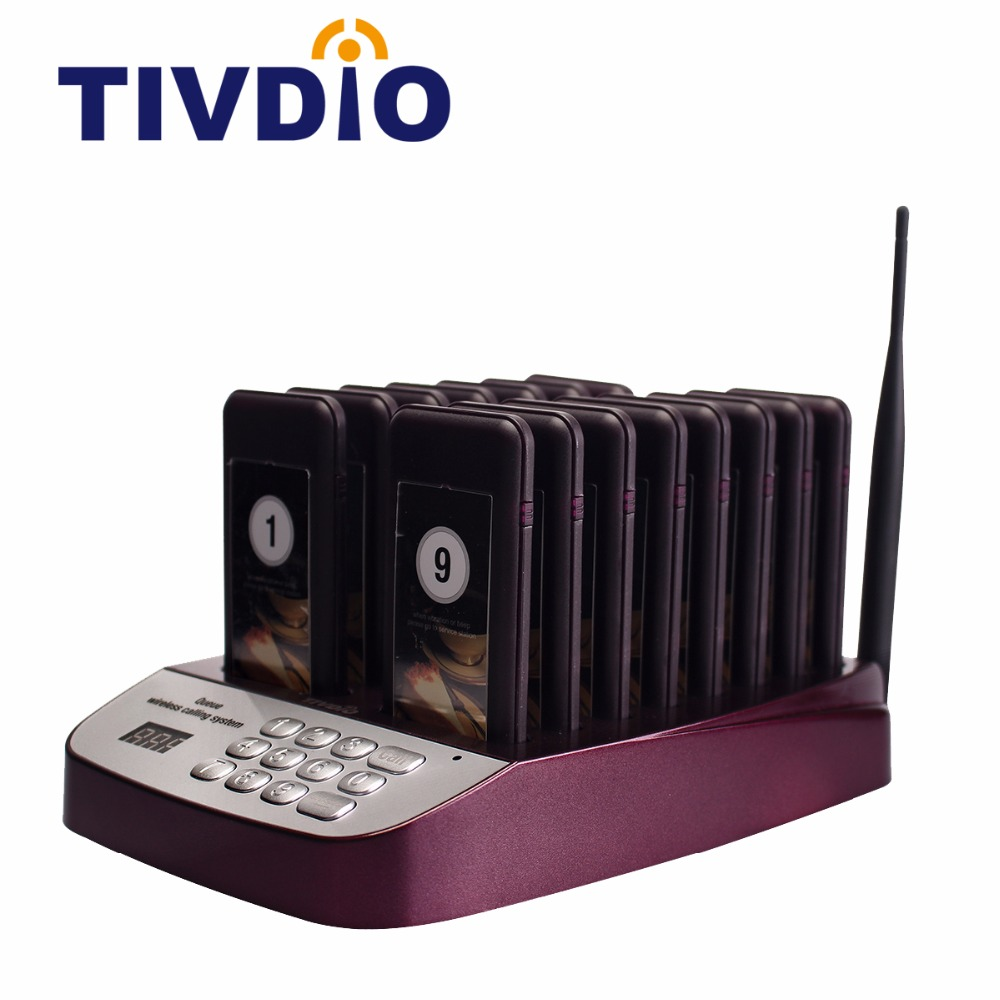 TIVDIO T-113 Wireless Restaurant Pagers 999 Channel Paging Queuing System Waiter Coaster 16 Call Button Catering Equipment F9403 tivdio 999 channel wireless restaurant calling paging system waiter call bell pager 3 watch receiver 15 call button f3287b