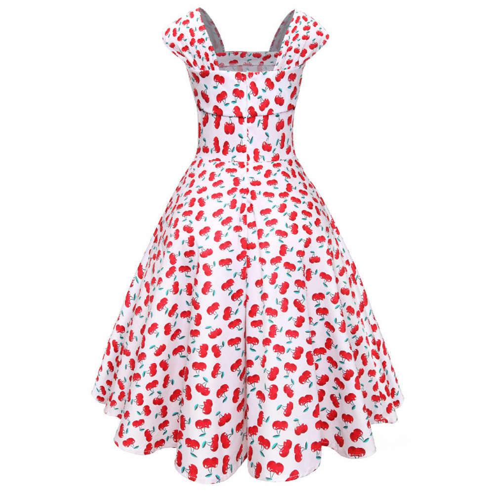Kenancy женское винтажное платье с цветочным принтом 1960 s, летнее платье без рукавов с квадратным воротником, хлопковая туника, вечерние платья синего цвета