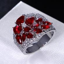 Продвижение женский кольцо pave зеленый и красный капли воды