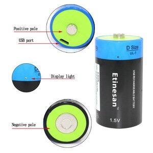 Etinesan 1,5 V 9000mWh Lithium-ionen Li-polymer D Größe Wiederaufladbare USB Batterie D typ für Taschenlampe wasser heizung ect.