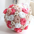 2016 Bridal Accessories Bouquet Silk Ribbons Pearls Diamond Multicolor Gradient Simulation Roses Dyeing Luxurous Wedding Bouquet