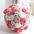 2016 accesorios nupciales ramo de seda cintas perlas de diamante gradiente Multicolor simulación Roses atar teñido lujosa ramo de la boda