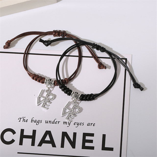2 PCs/Set New Arrival Handmade Couple Bracelets Star Crown Key Lock Charm Bracelet Rope Chain Bracelet Romantic Gifts for Lovers 5
